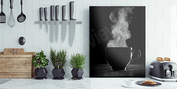 Černobílý obraz káva