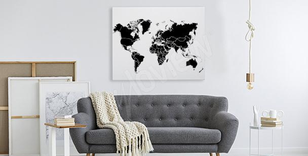 Černobílý obraz s mapou světa