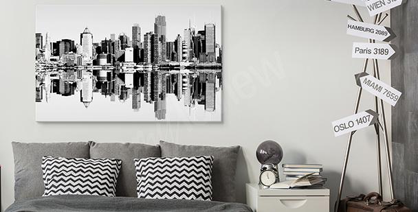 Černobílý obraz s městem