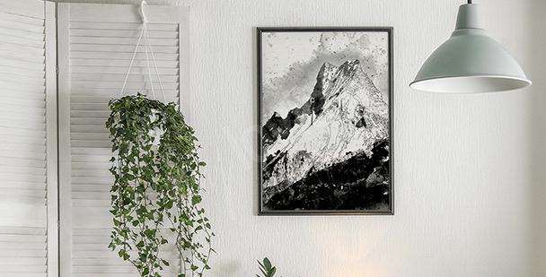 Černobílý plakát hory