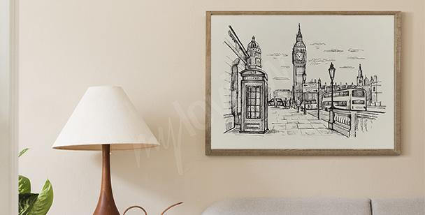 Černobílý plakát Londýn