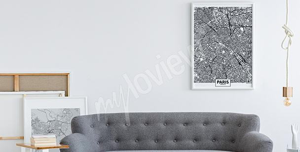 Černobílý plakát mapa