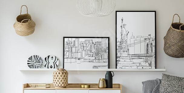 Černobílý plakát město