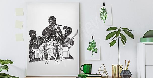 Černobílý plakát muzikanti