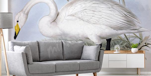 Delikátní fototapeta s labutí