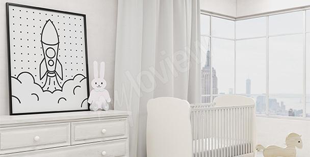 Dětský černobílý plakát
