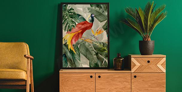Exotický plakát akvarel