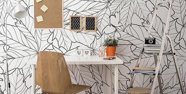 Fototapeta černobílé listí do kanceláře