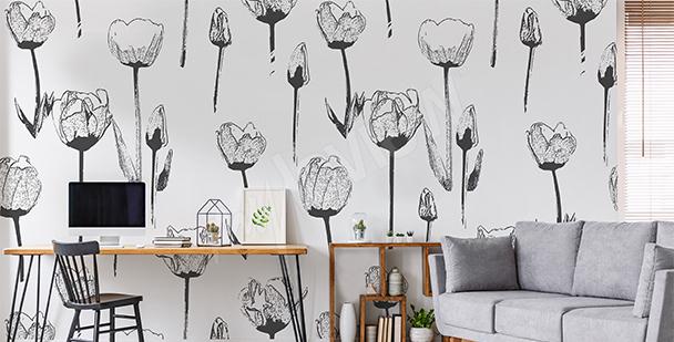 Fototapeta černobílé tulipány