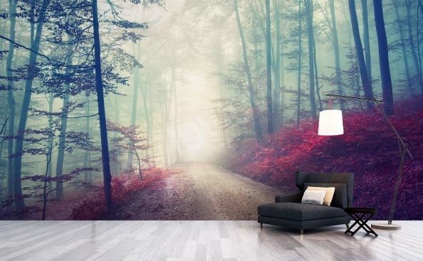 Fototapeta les v mlze