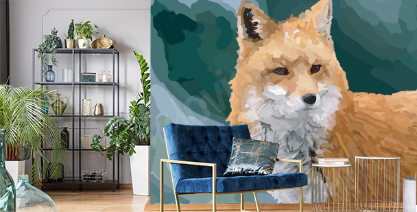 Fototapeta liška v akvarelu