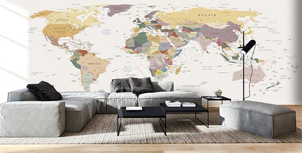 Fototapeta mapa do obývacího pokoje