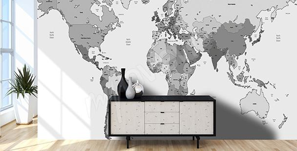 Fototapeta mapa světa černobílá