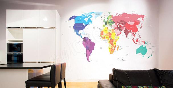Fototapeta mapa světa do jídelny