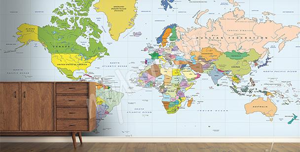 Fototapeta mapa světa do předsíně