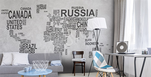 Fototapeta mapa světa nápisy