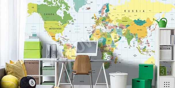 Fototapeta mapa světa pro teenagera