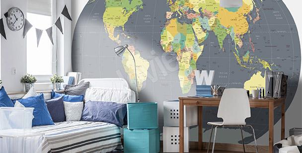 Fototapeta mapa světa zeměkoule