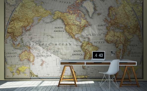Fototapeta mapa v koloniálním stylu