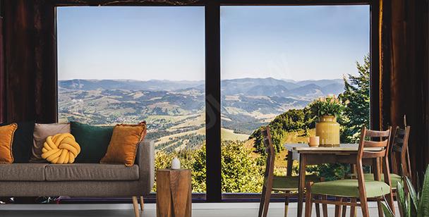 Fototapeta okno s výhledem na hory