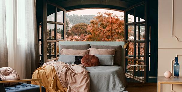 Fototapeta okno s výhledem na les
