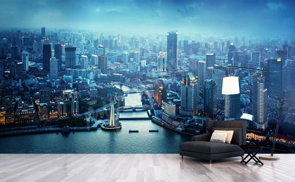 Fototapeta panorama města – Šanghaj v noci