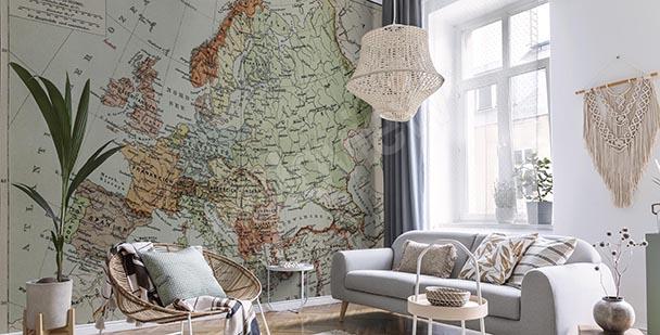 Fototapeta retro mapa v odstínech šedé