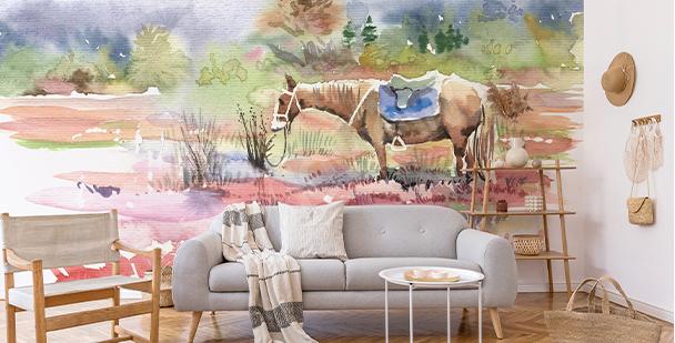Fototapeta s koněm v akvarelu