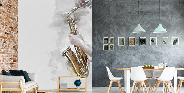 Fototapeta saxofon v akvarelu