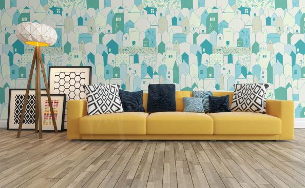 Fototapeta skandinávský styl barevné domky
