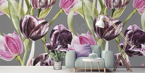 Fototapeta tulipány a kapky rosy