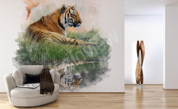 Fototapeta tygr v trávě