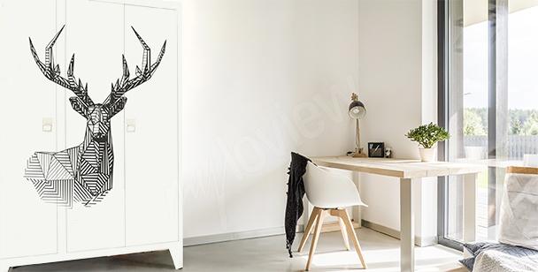 Geometrická nálepka s jelenem