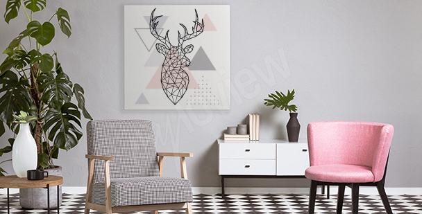 Geometrický obraz s jelenem