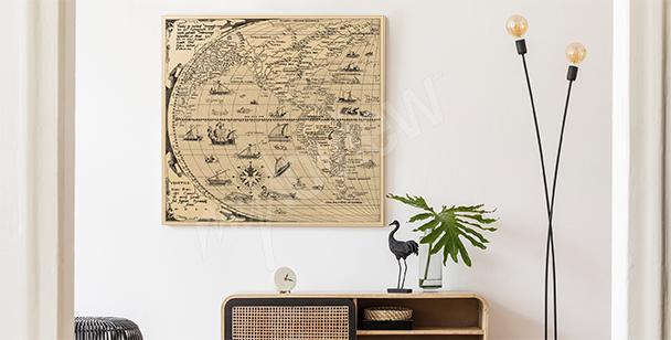 Ilustrovaný obraz stará mapa