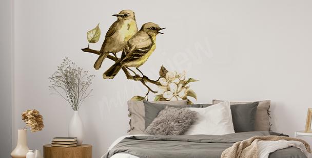 Jarní nálepka s ptáky