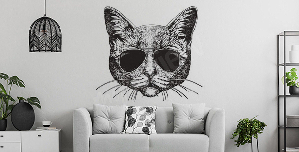 Kočičí nálepka do obývacího pokoje