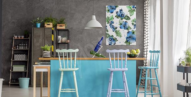 Kuchyňský obraz s borůvkami