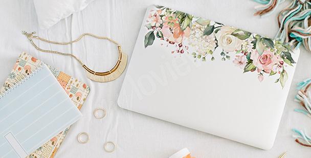 Květinová nálepka na notebook
