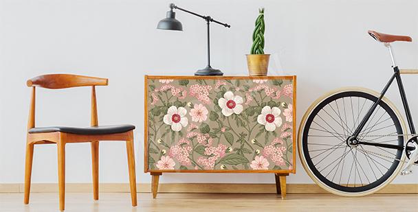 Květinová nálepka na skříňku