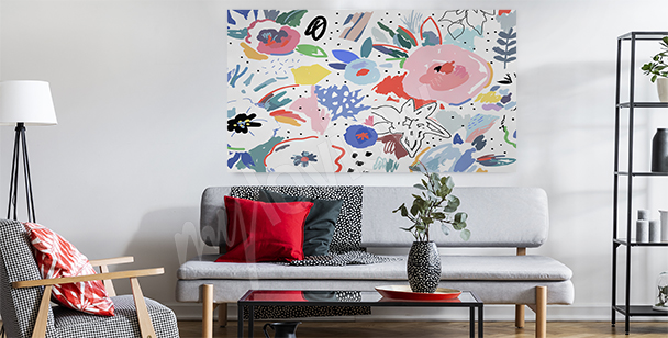 Květinový obraz do obývacího pokoje