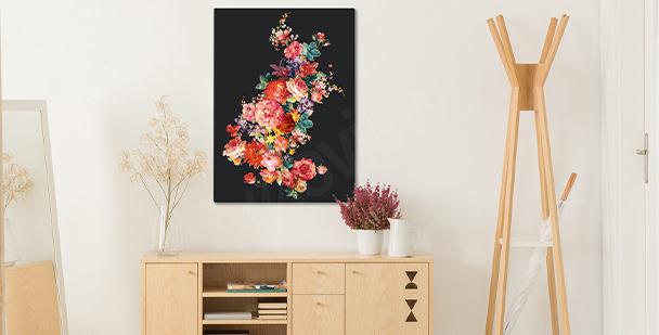 Květinový obraz na tmavém pozadí