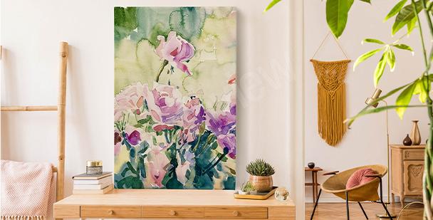 Květinový obraz s akvarelem