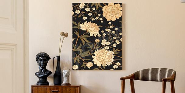 Květinový retro obraz