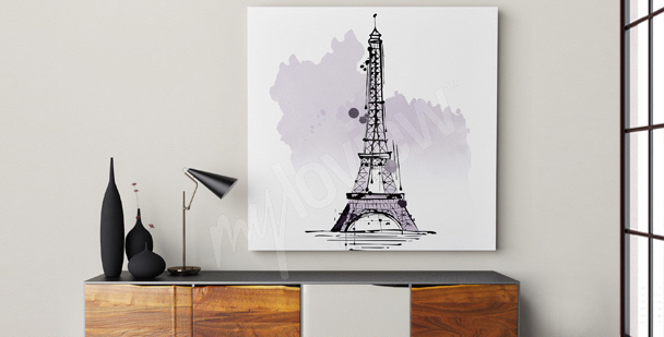 Minimalistický obraz Eiffelova věž