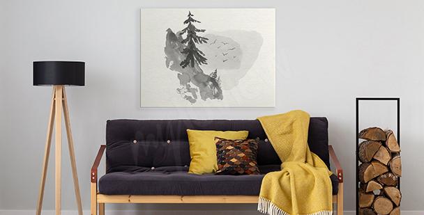 Minimalistický obraz s lesem