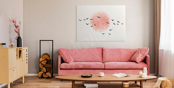 Minimalistický obraz s ptáky