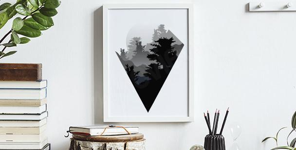 Minimalistický plakát s horami
