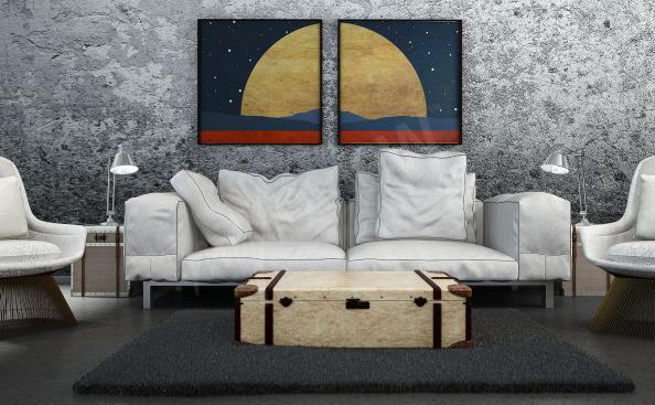 minimalistický plakát s vesmírem