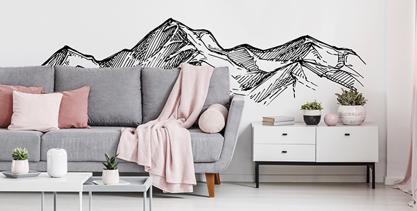 Monochromatická nálepka s horami